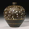 An impressive 'Cizhou' sgraffito brown-glazed <b>globular</b> <b>vase</b>, Jin dynasty (1115-1234)