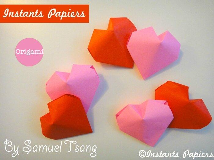 coeur en origami origami heart instants papiers. Black Bedroom Furniture Sets. Home Design Ideas