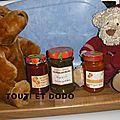 Confitures d'abricots, d'abricots et fraises, kiwis
