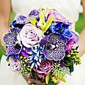 Bouquet de mariée couleur bleu et violet