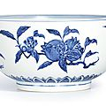 An extremely rare blue and white '<b>Fruit</b>' bowl, Ming dynasty, Yongle period