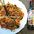 Nouilles sautées au crevettes, sauce sukiyaki