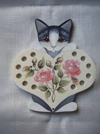 tri-fils chat peint fleurs