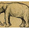 dessin d'éléphant sur papier, au coin supérieur gauche corné