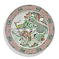 A large famille-verte 'empty city stratageme' dish, qing dynasty, kangxi period (1662-1722)