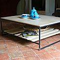 Grande table basse, chêne, acier, plateau modulable...