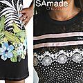 Robe Noire en maille et top Dentelle à rubans satinés Rose Poudré comme des Rayures à Imprimé Digital Fleuri d'esprit Tropical et pois noir Blanc !
