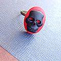 Bague bronze réglable cabochon skull tête de mort