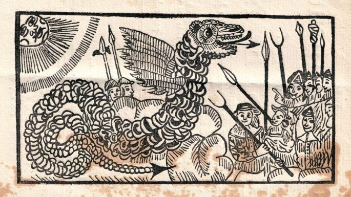 Forked tongue a woodcut from a 1669 pamphlet entitled The Flying Serpent or Strange News out of Essex the sunday times