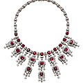 A ruby and diamond <b>fringe</b> necklace, by Harry Winston