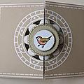 Cinquième carte Belles <b>courbes</b> avec feuillages et petits oiseaux