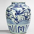 A large blue and white pheasant and flowers jar, Wanli period
