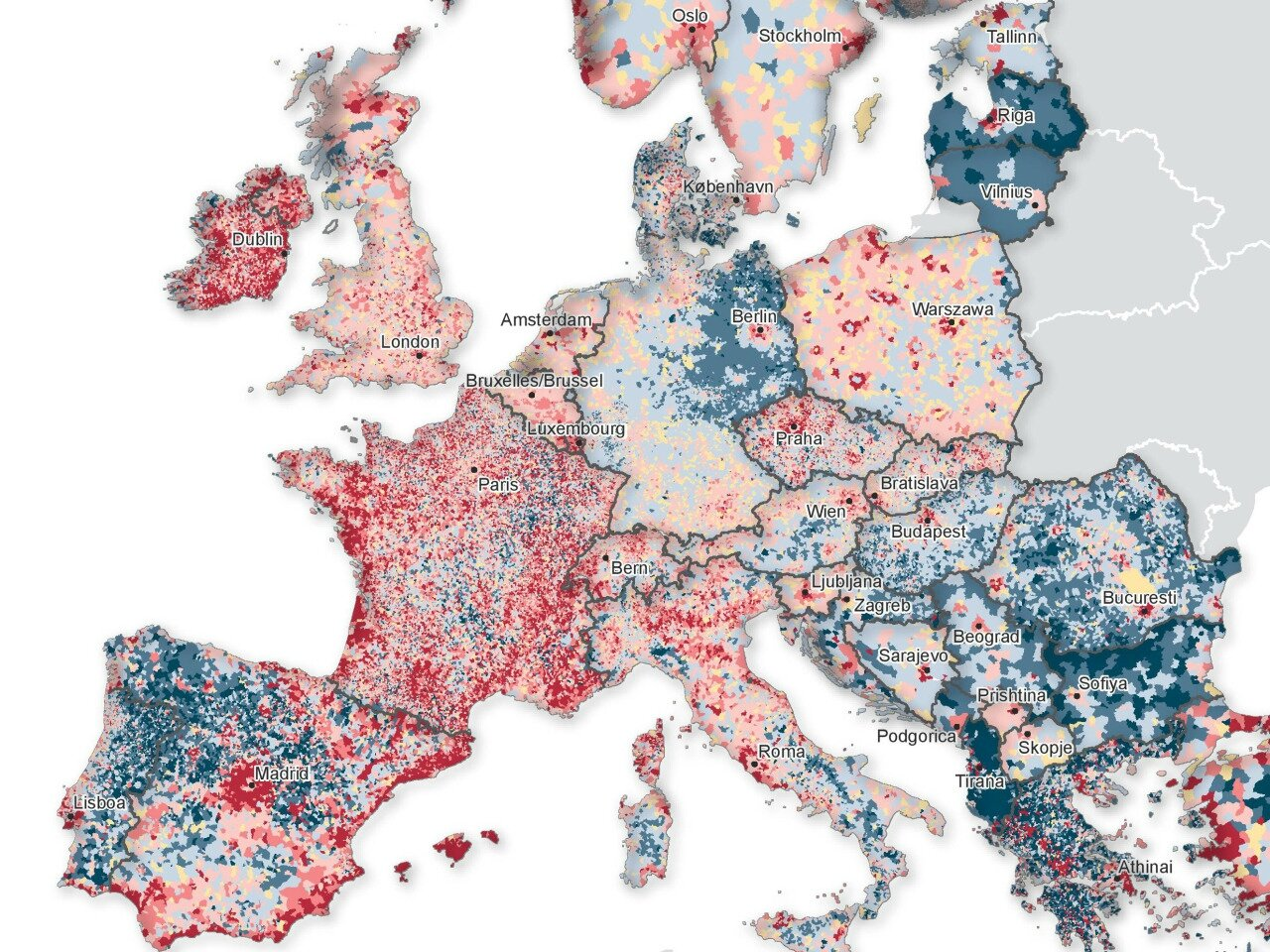 Population increases and decreases in Europe