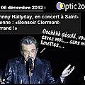 Johnny en concert à st etienne, salue le public de clermont-ferrand....