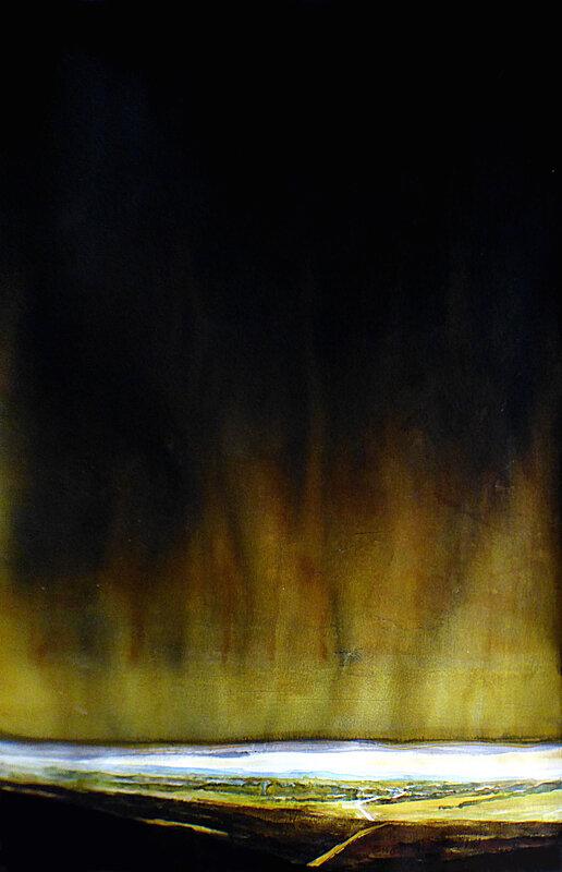 la terre se tait (hd) ,2017, aquarelle et encre de chine, 70 x 100 cm
