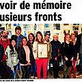 Carpentras, le 14 février 2015. deux enfants de résistants témoignent devant les élèves du lycée louis-giraud
