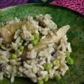 Risotto aux champignons, artichauts et petits pois