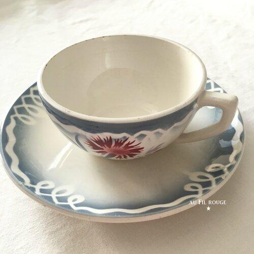 Tasse à café et sous tasse Marinette