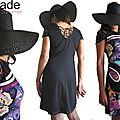 Robe maille Dentelle noire Chic Imprimé Jersey Papillons multicolores et Graphique 60's