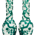 A pair of green overlay glass vases, late 19th-early 20th century