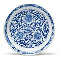 A blue and white 'Lotus' dish, Kangxi mark and period (1662-1722)