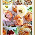 Petits gâteaux fondants, pêches, cardamone et caramel