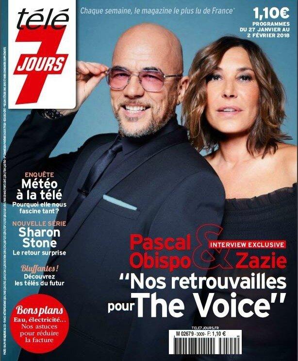 Pascal Obispo & Zazie dans le magazine Télé 7 jours du 27 janvier