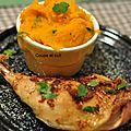 Cuisses de poulet aux épices et purée de patates douces à la coriandre