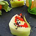 Sushis au poireau /riz curcuma / magret de canard / fromage / poivrons