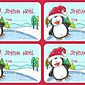 étiquettes noel pingouin