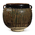 A black-glazed 'ribbed' handled jar, Northern Song-Jin dynasty (960-1234)