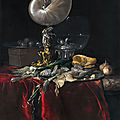 Willem van aelst, still life with fish, bread, and a nautilus cup