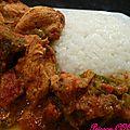 Poulet coco aux 3 poivrons et son riz parfume