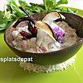 Tartare de dorade au coco, combava et mangue