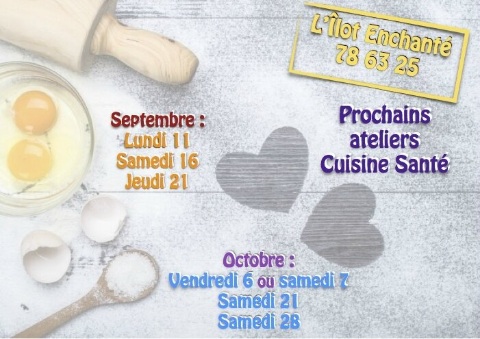 Les prochains ateliers de Cuisine Santé