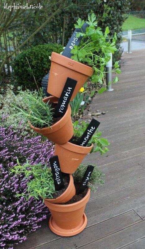 Diy jardin facile jardini re aromatique verticale - Jardiniere verticale ...