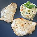 Escalope de veau au cumin à la <b>plancha</b> et taboulé à l'orientale