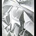 Déchet Papier aluminium étude dessin crayon brillance et plis cassures G. Letourneur 1980 - Déchets métalliques - Waste metal