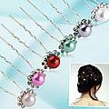 Lot de 10 barettes perles et strass différents coloris (barettes n°3)