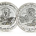 A Set <b>of</b> Two Grisaille Plates, decorated with the '<b>Resurrection</b> <b>of</b> <b>Christ</b>', Qianlong period (1736-1795)