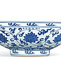 A large blue and white 'lotus' bowl, mark and period of xuande