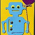 Carte d'anniversaire pour garçon avec robot bleu