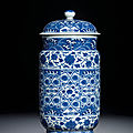A fine Ming-style blue <b>and</b> white <b>cylindrical</b> <b>jar</b> <b>and</b> <b>cover</b>, Qing dynasty, 18th century