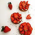 <b>Tartelettes</b> aux fraises, crème vegan au citron vert