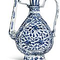 A blue and white '<b>Floral</b>' ewer, Ming Dynasty, Jiajing period (1522-1566)