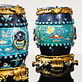 A pair of gilt-bronze mounted fahua enamelled stoneware stools, ming, 16th-17th centuries, french, 19th century