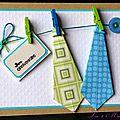 Une inspi ... 2 cravates en origami ... une corde à linge ... un bouton ... une <b>carte</b> d'anniversaire masculine !