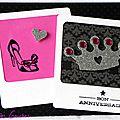 carte d'anniversaire girly et baroque avec escarpin et couronne