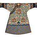 An Imperial yellow-ground fur-trimmed kesi <b>twelve</b>-symbol 'dragon' robe (jifu), Qing dynasty, Guangxu period (1875-1908)