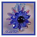 Marguerite cristal et goutte cristal bleu
